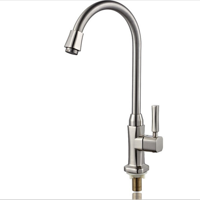 Free shipping Hot sale single cold kitchen sink mixer tap with Brushed finishing kitchen sink water