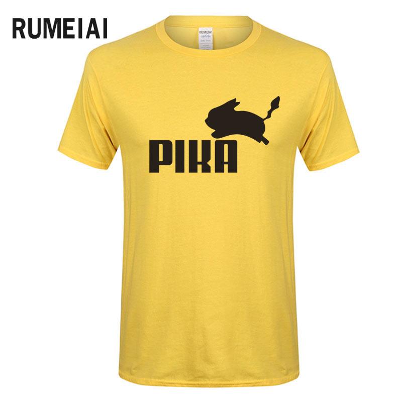 RUMEIAI Summer New Pokemon T Shirt Anime Pika Men T-Shirts Pikachu Boy T Shirt Cotton Short Sleeve Boy Tees Tops Футболка