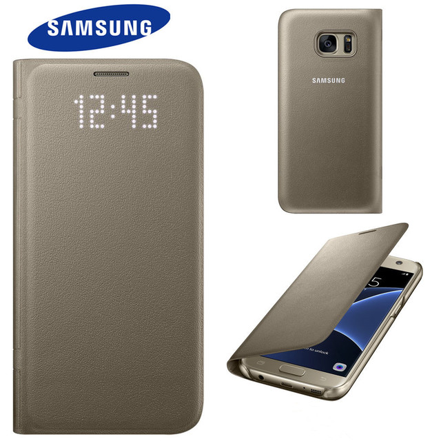 huge discount a6a35 2e3c6 US $13.99 |100% Genuine Original Samsung Galaxy S7 LED Display Cover Flip  View Case With Card Pocket CASE gold Sales promotion-in Wallet Cases from  ...