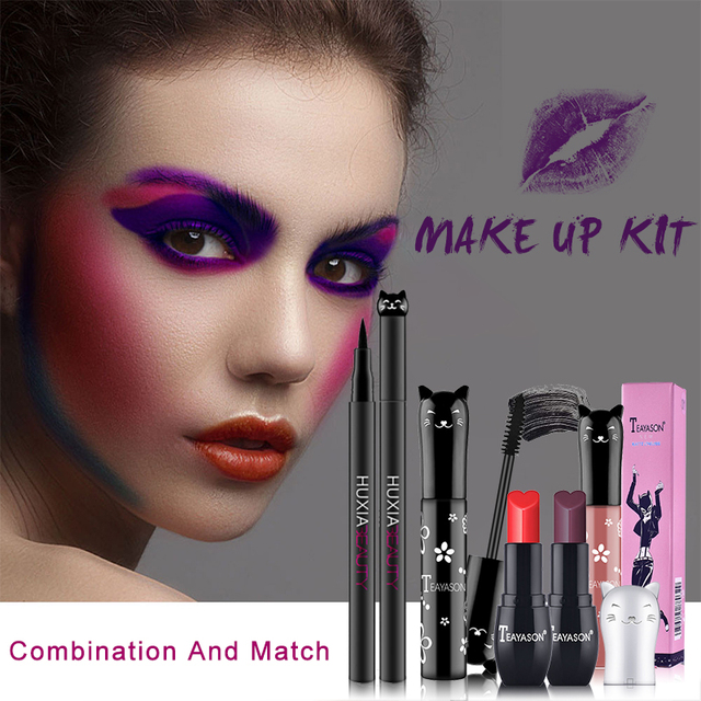 Beauty Makeup Sets Cat Style Long Lasting Matte Lipstick Moisture Lip Gloss Long Thick Black Mascara Eyeliner Cosmetics