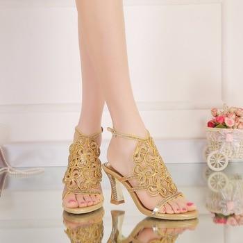 Sandalias Women Sandals New Silver Rhinestone Sandals Crystal Gold Strappy High Heel Shoes 8cm
