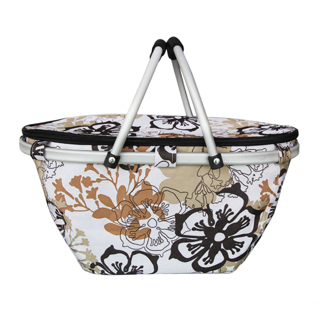 2018 Popular Durable Large Aluminum Frame Basket Fitness Outdoor Camping Collapsible Insulated Market Basket Picnic Tote