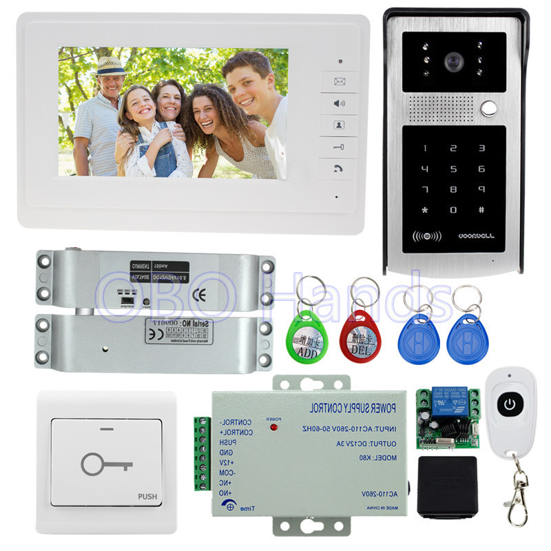 7'' wired color video door phone intercom system kit set with outdoor doorbell camera with RFID password keypad+ bolt lock brand new wired 7 inch color video door phone intercom doorbell system 1 monitor 1 waterproof outdoor camera in stock free ship