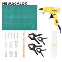 NEWACALOX EU Plug Hot Melt Glue Gun 10 Pcs Glue Sticks 4 Pcs Fixed Clip Carving