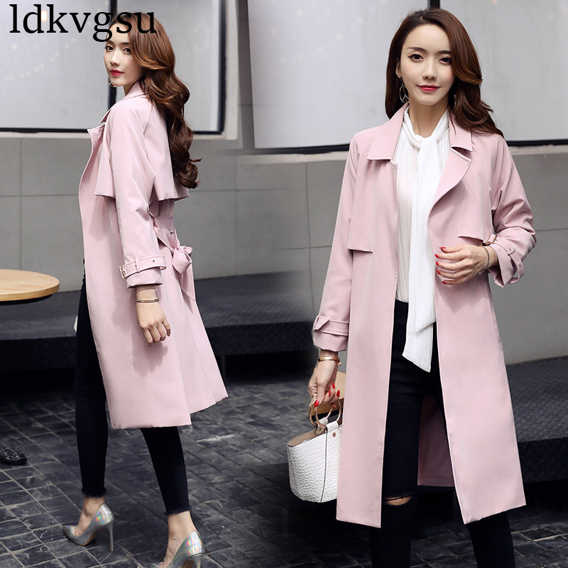 New Fashion Long   Trench   Coat Women 2019 Spring Autumn Classic Turn Down Collar Casual Windbreaker With Belt Outerwear Femme A588