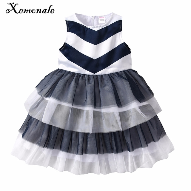 Xemonale Kids Baby Girls Dress 2018 New Girls Sleeveless Blue Striped Tutu Dresses  Summer Wedding Party Children Clothes 2-7Yrs 17bebfc31
