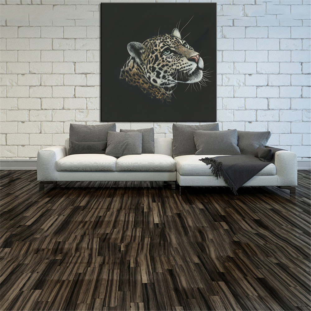 DPARTISAN no frame Big cats Leopards Head Black Portrait Custom Wall Decor print on canvas sqaure sizes