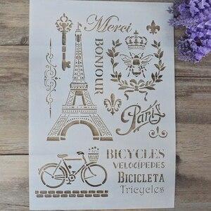 A4 A3 A2 DIY ремесла, винтажные Парижские трафареты для настенная живопись, штампованная для скрапбукинга альбом, декоративная тисненая бумажна...