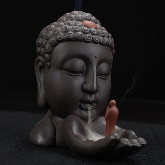 Buddha Backflow Incense Burner Home Decor + 10Pcs Incense Cones