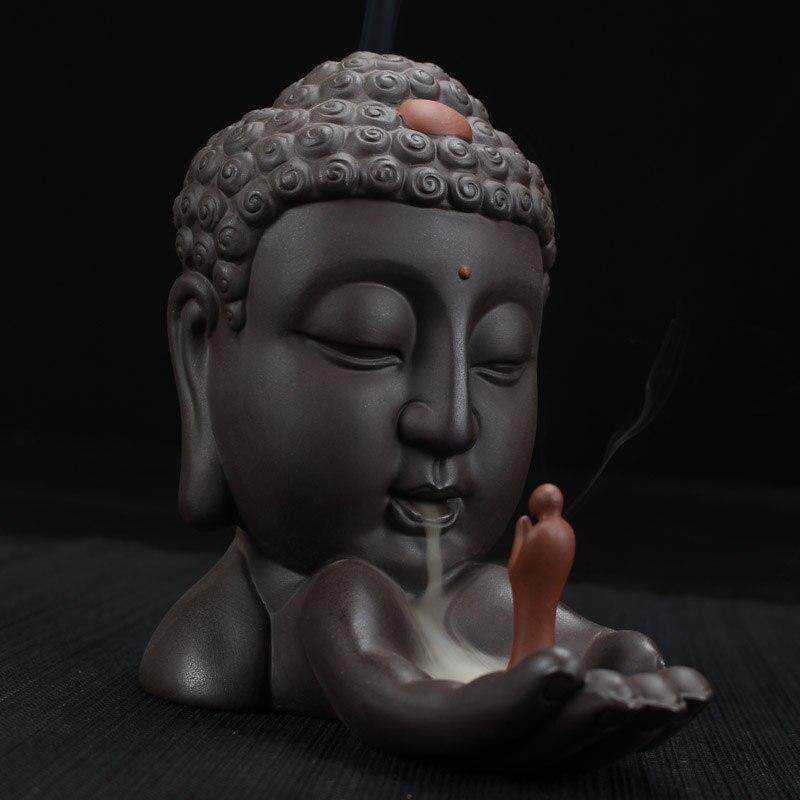 Refluxo Incenso Buda Budista Queimador de Incenso Decoração de Casa Criativa Cerâmica Incensário + 10 Pcs Cones de Incenso