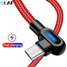 OLAF 90 degree micro usb cable 1m 2m Fast Charge Data Sync Cord USB Charging Cable For Samsung Xiaomi Huawei Mobilie Phone Cable 1 2m 120cm charge cable for nintendo new 3ds 2ds ndsi xl ll gba sp nds power charging cable cord usb charge cable cord for ndsi