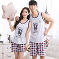 1076 Plaid printing Couples summer cute vest suit Pajama