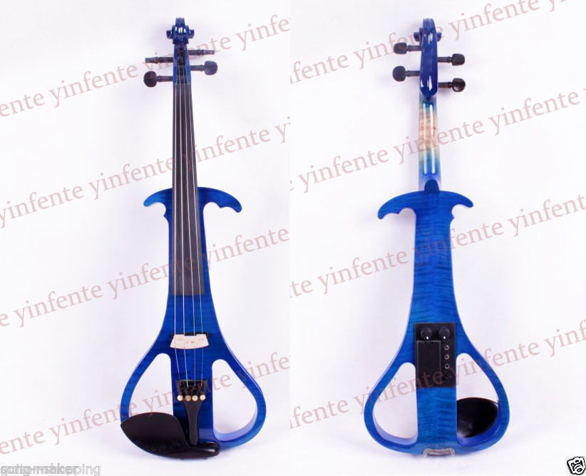 4/4 Electric Violin Solid Wood Blue color Violin case bow Powerful Sound 4 4 electric violin solid wood 7 8 silvery more color 4 string