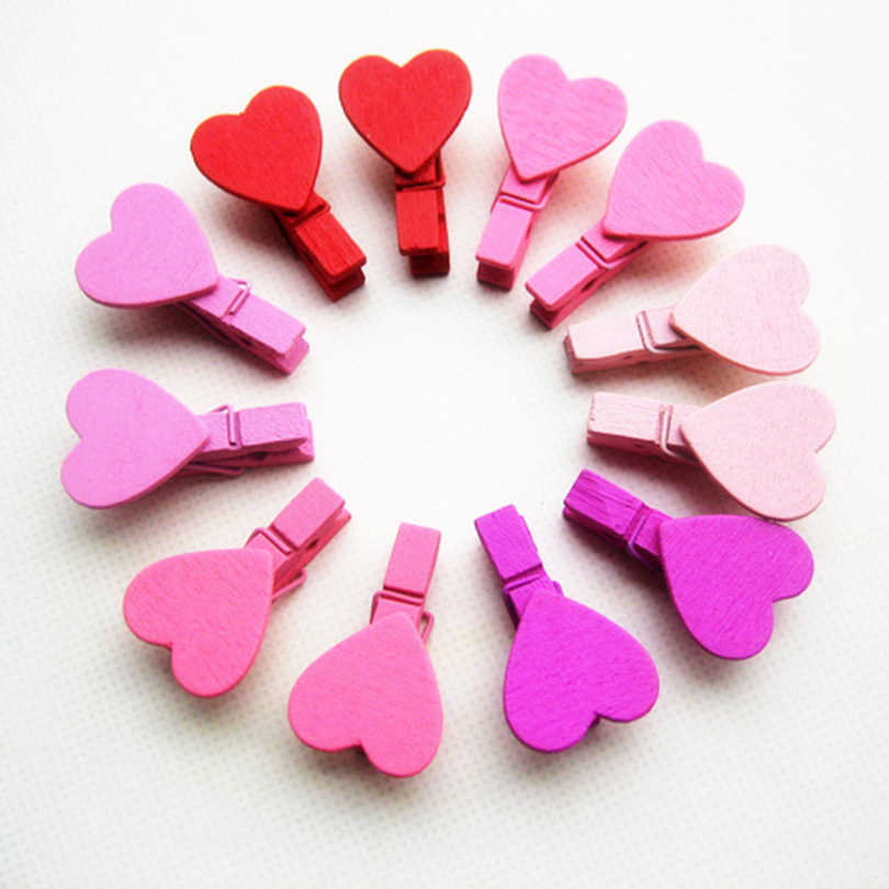 6 Colors Creative Wooden Clips Love Memory Mini Love Heart 12pcs/bag Photo Paper Peg Pin Clothespin Craft Clips
