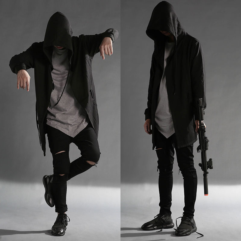 Autumn winter men gothic style hooded trench coat black punk personality  cloak robe mens woolen long ... fdd724461