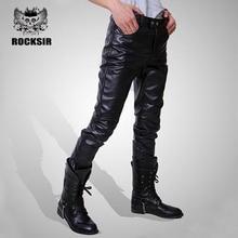 Узкие кожаные штаны мужские черные узкие Искусственная кожа Штаны Большие размеры из эластичной кожи Брюки для девочек Для мужчин мотоцикл хип-хоп прямые Брюки для девочек