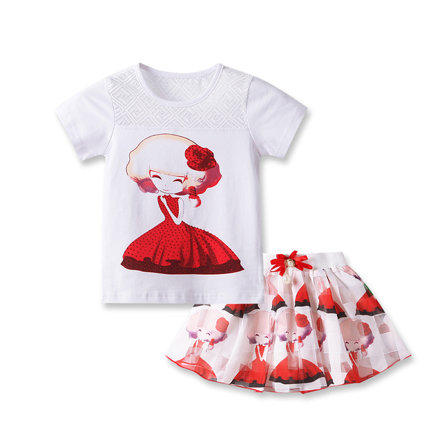 2016 fashion summer baby clothes Boutique outfits cute girl party cotton cartoon tops ruffle tutu layer skirts suits clothing