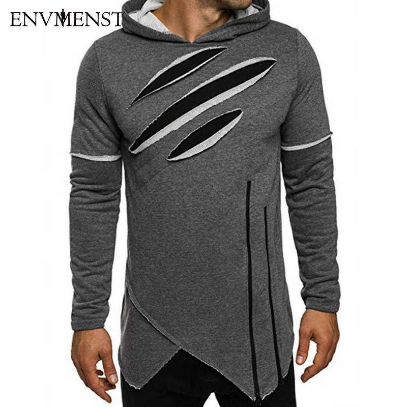 Envmenst 2017 가을 뉴 패션 남성 긴 검은 후드 티 스웨터 지퍼 불규칙한 힙합 하이 스트리트 착용 소년 까마귀