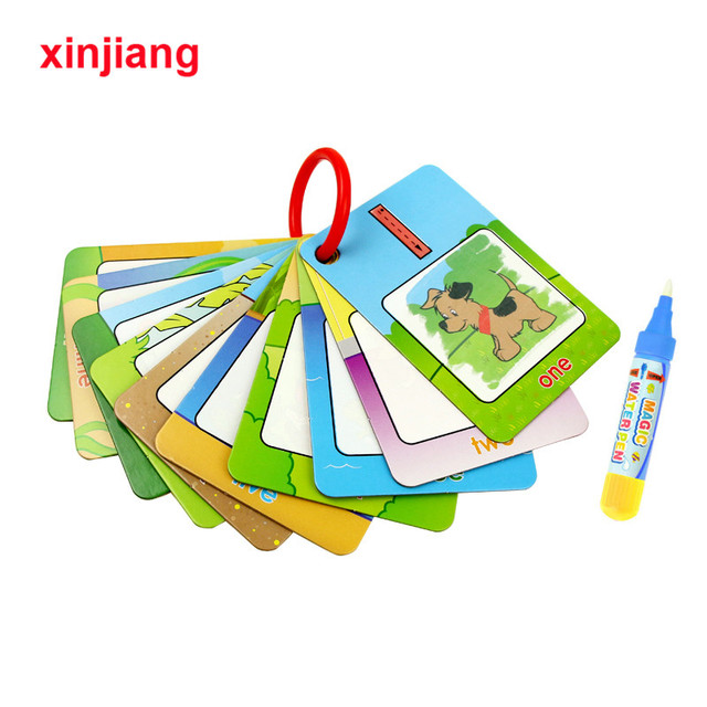 Magic Water Drawing Cards Coloring Book with Water Pen Painting Drawing Board Educational Toys for Children Gift