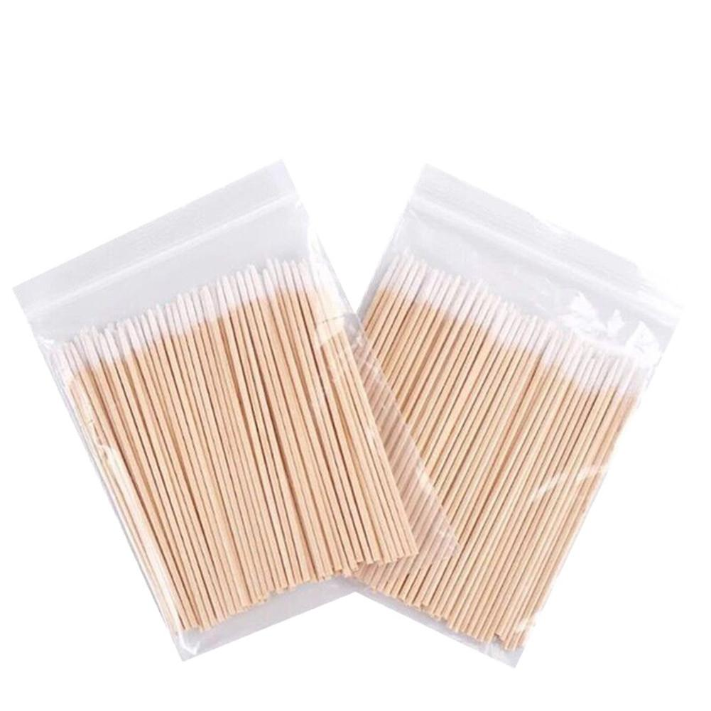 100PCS 7CM Tip End Round Head Disposable Wood Cotton Swabs Clean Sticks Buds For Tattoo