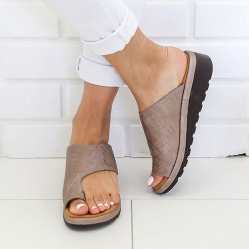 Women PU Leather Shoes Comfy Platform Flat Sole Ladies Casual Soft Big Toe Foot Correction Sandal Orthopedic Bunion Corrector 5