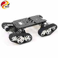 Remote Control 4wd Shock Absorber Robot Tank Chassis Kit with 4pcs 12V DC Motor Aluminum Alloy Frame for Arduino DIY