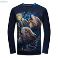 Boys Shirts with Long Sleeves 2017 Men T Shirts Fashion Cotton Printed Wolf Casual T-shirt Black Plus Size 3XL 4XL 5XL