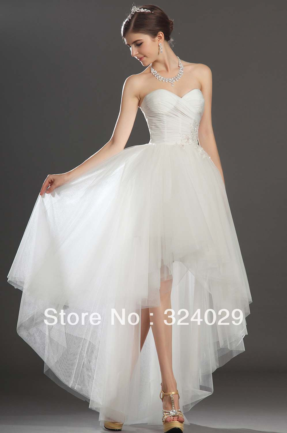 Freeshipping fantastic sweetheart high low white tulle for Free wedding dresses low income