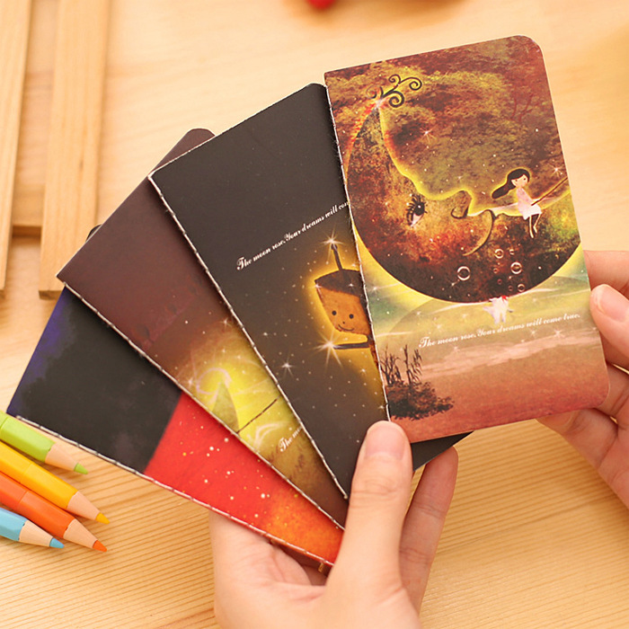 Mini Cute Novelty Dream Childhood Moon Notebook Notepad Diary Writting Paper Memo Note School Supplies Stationery Wholesale