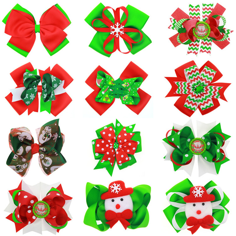 12pcs/lot Christmas Ornaments Bowknot Hairpin Headdress snowflake Bow gift Hair Clips baby hair accessories children headwear halloween party zombie skull skeleton hand bone claw hairpin punk hair clip for women girl hair accessories headwear 1 pcs