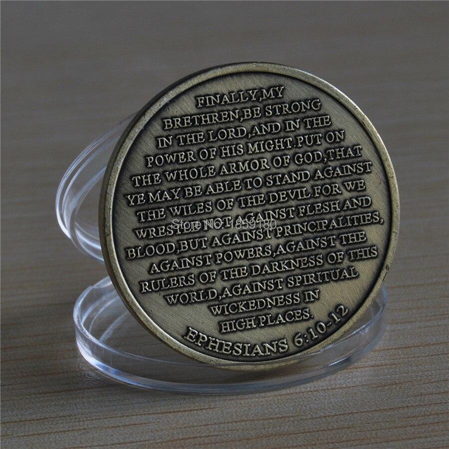100 개/몫 DHL 무료 배송 높은 기복 에베소서 6:10 12 청동 도전 동전-에서비통화코인부터 홈 & 가든 의  그룹 2