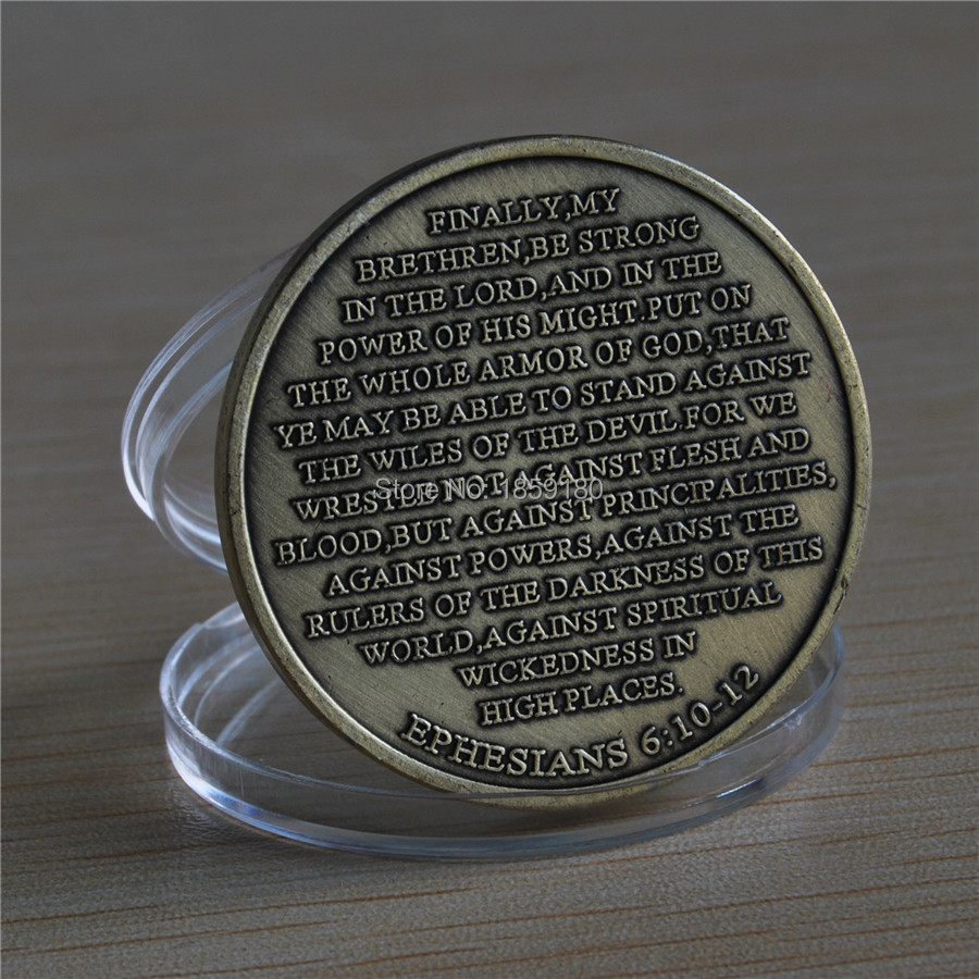 100pcs/lot DHL free shipping United States Armor of God High Relief Ephesians 6:10-12 Bronze Challenge Coin
