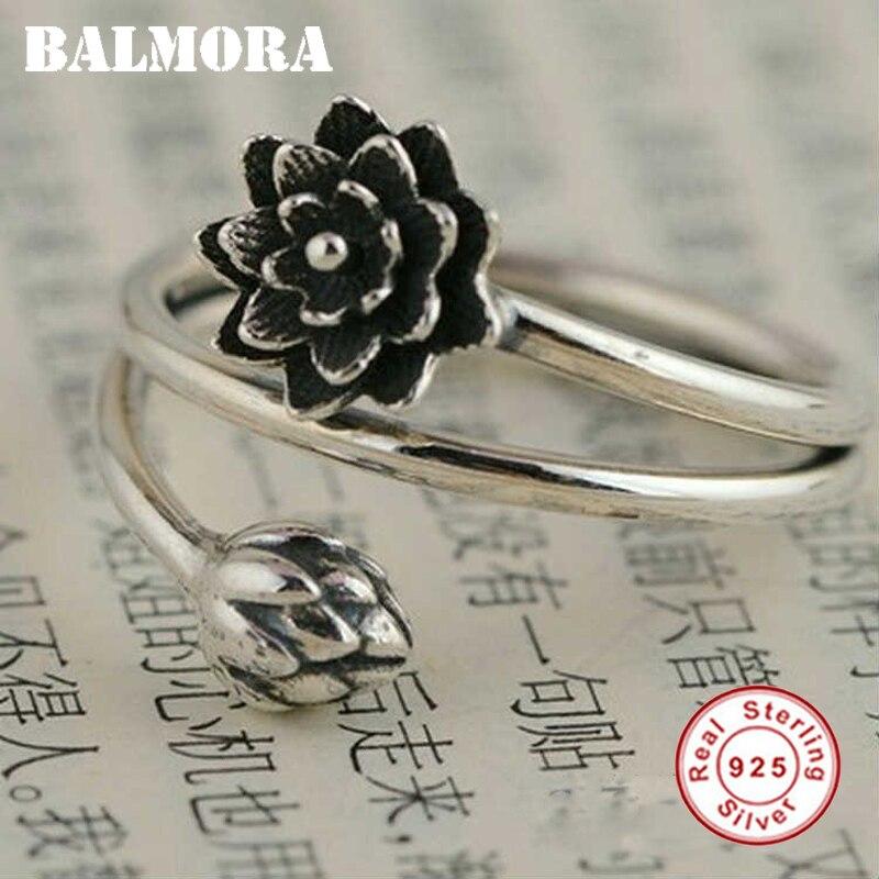 BALMORA 100% Echt 925 Sterling Silber Schmuck Retro Lotus Blume Öffnung Ringe für Frauen Liebhaber Partei Geschenk Bijoux Anillos SY21347