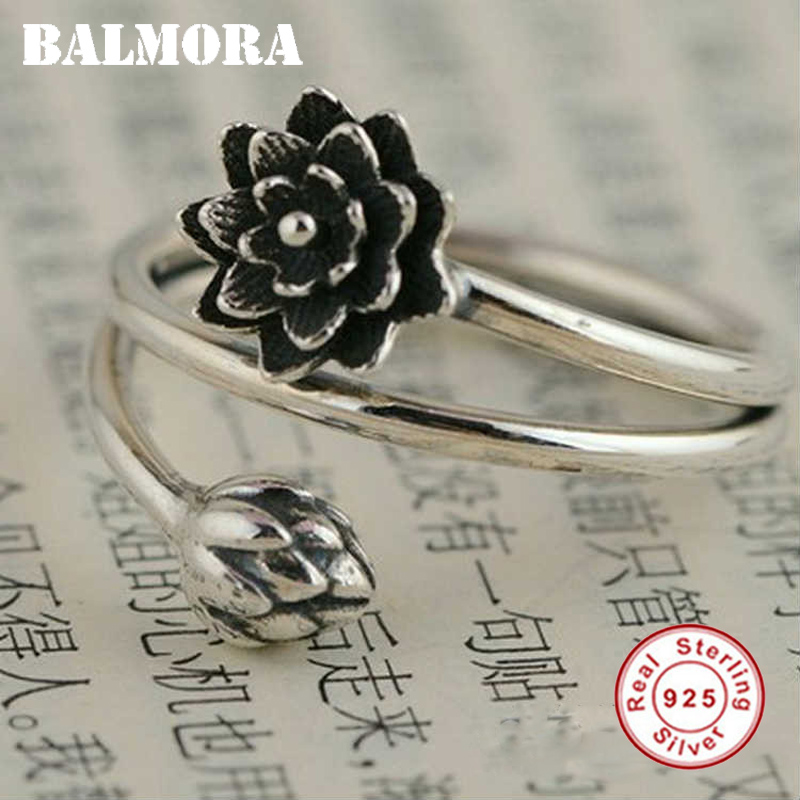 BALMORA 100% Real 925 Sterling Silver Jewelry Retro Lotus Flower Opening Rings for Women Lover Party Gift Bijoux Anillos SY21347
