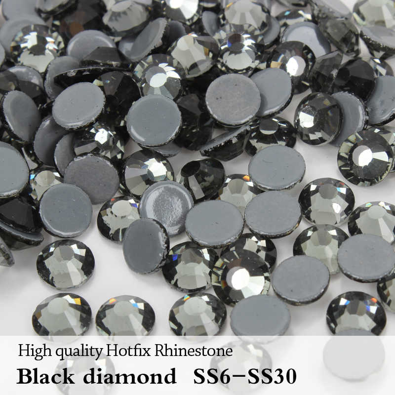 High Quality A++ Flatback Hotfix Rhinestones ss6-ss30 Black diamond  Adhesive Iron On Stones for ea5ef199ec13