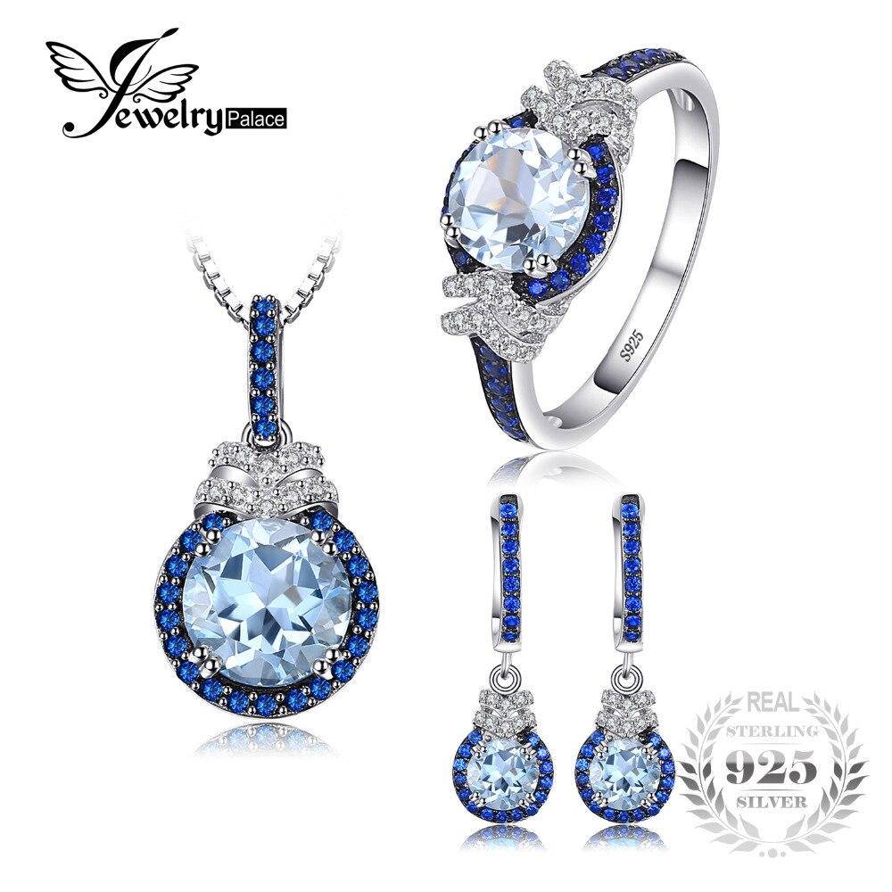 JewelryPalace Fine 5ct Ciel Bleu Topaze Créé Bleu Spinelle Balancent Boucles D'oreilles Pendentif Collier Anneau Bijoux Ensembles 925 Sterling Argent