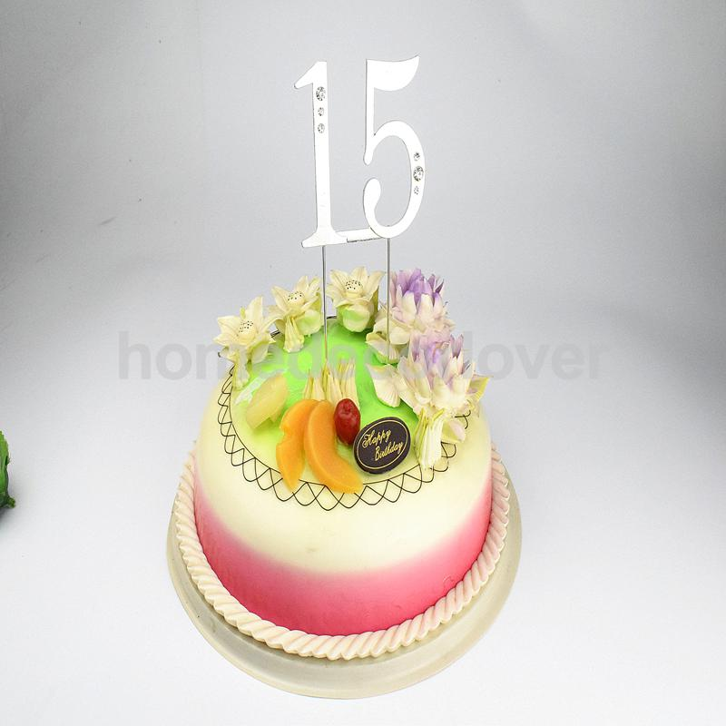 1 Birthday Cake Topper Number 15 Anniversary Decoration Favors Party