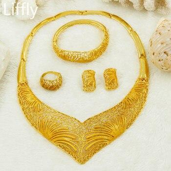 25da54e79f63 Liffly regalo nupcial de la joyería del oro de Dubai establece para las  mujeres encanto collar pendientes de moda nigeriano boda Africana perlas  joyería ...