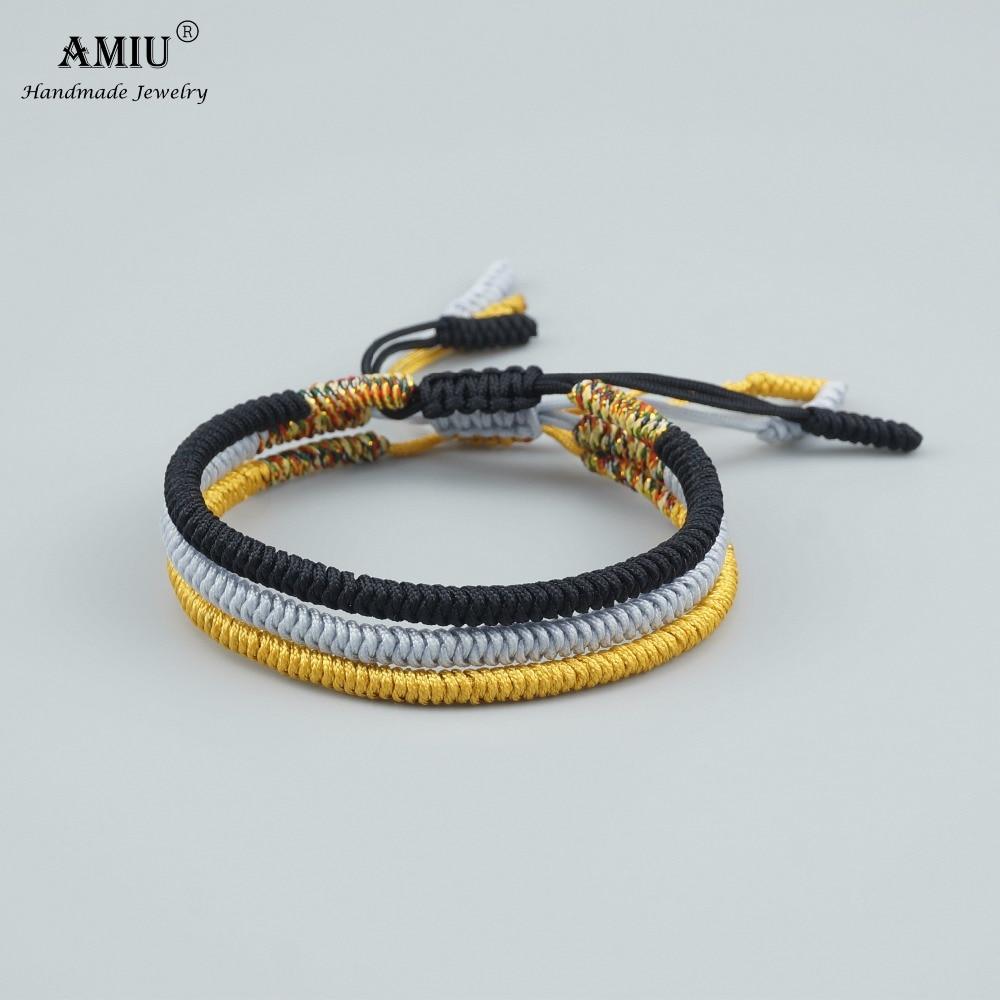 AMIU 3PCS Multi Color Tibetan Buddhist Love Lucky Charm Tibetan Bracelets & Bangles For Women Men Handmade Knots Rope Bracelet