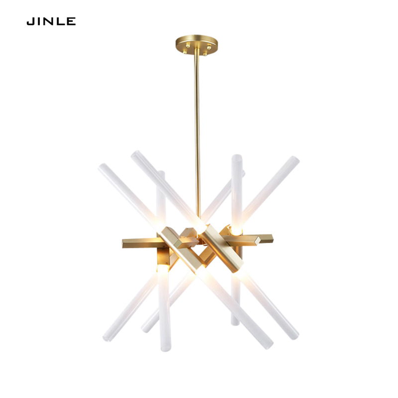 Nordic simple postmodern personality gold black 8/12 heads pendant lights living room bedroom villa duplex restaurant lighting