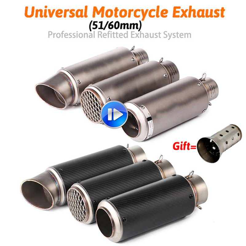 Inlet 51mm 60mm Motorcycle Exhaust Pipe Muffler Stainless Steel GP Racing Project Exhaust Mufflers Carbon Fiber