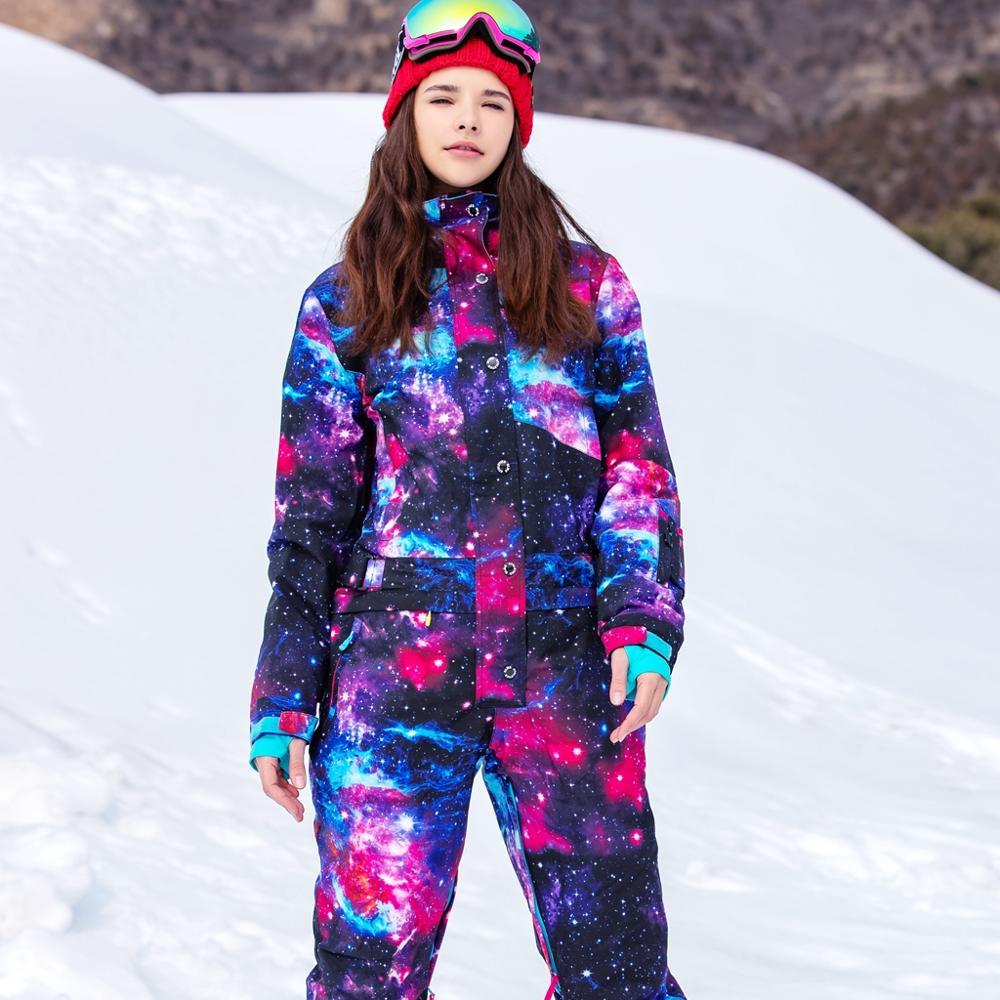 Синий волшебный водонепроницаемый Сноубординг цельный лыжный комбинезон женский сноуборд-30 градусов лыжный костюм зимняя одежда комбинезон