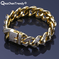 Hip hop MIAMI CUBAN Chain Bracelets Micro Cubic Zirconia HipHop Bling Bangle Hipster Men Women Curb Butterfly Clasp Bangle 18mm