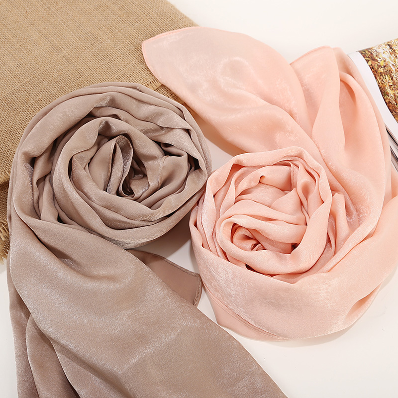1 Pc New Smooth Shiny Bubble Satin Scarf Shawls Plain Solider Colors Thicken Hijab Muslim scarves