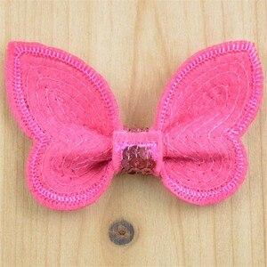 Image 5 - 100 sztuk/partia 32 kolor U Pick 2.36 Cal Mini aplikacja z motylem olśniewająca łuki akcesoria do włosów hurt Hairbow dostaw BOW05
