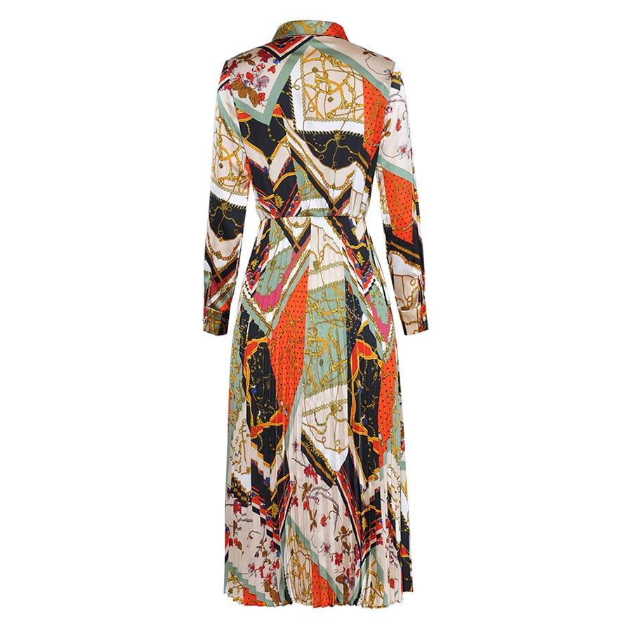 AELESEEN แฟชั่นชุดใหม่ 2019 ฤดูใบไม้ผลิฤดูร้อนเปิดลงคอดอกไม้พิมพ์ Vintage Pleated Midi Vintage ผู้หญิง-ใน ชุดเดรส จาก เสื้อผ้าสตรี บน   2
