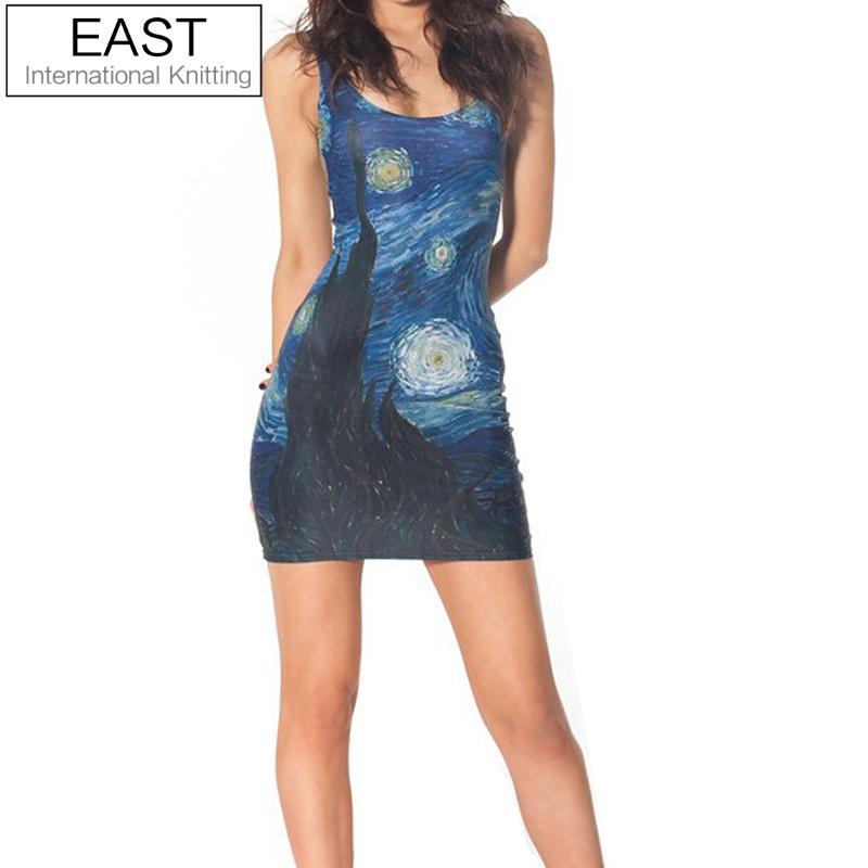 EAST KNITTING fashion BL-061 2017 Women new Vest tops summer STARRY NIGHT  DRESSES 65a7f441e878