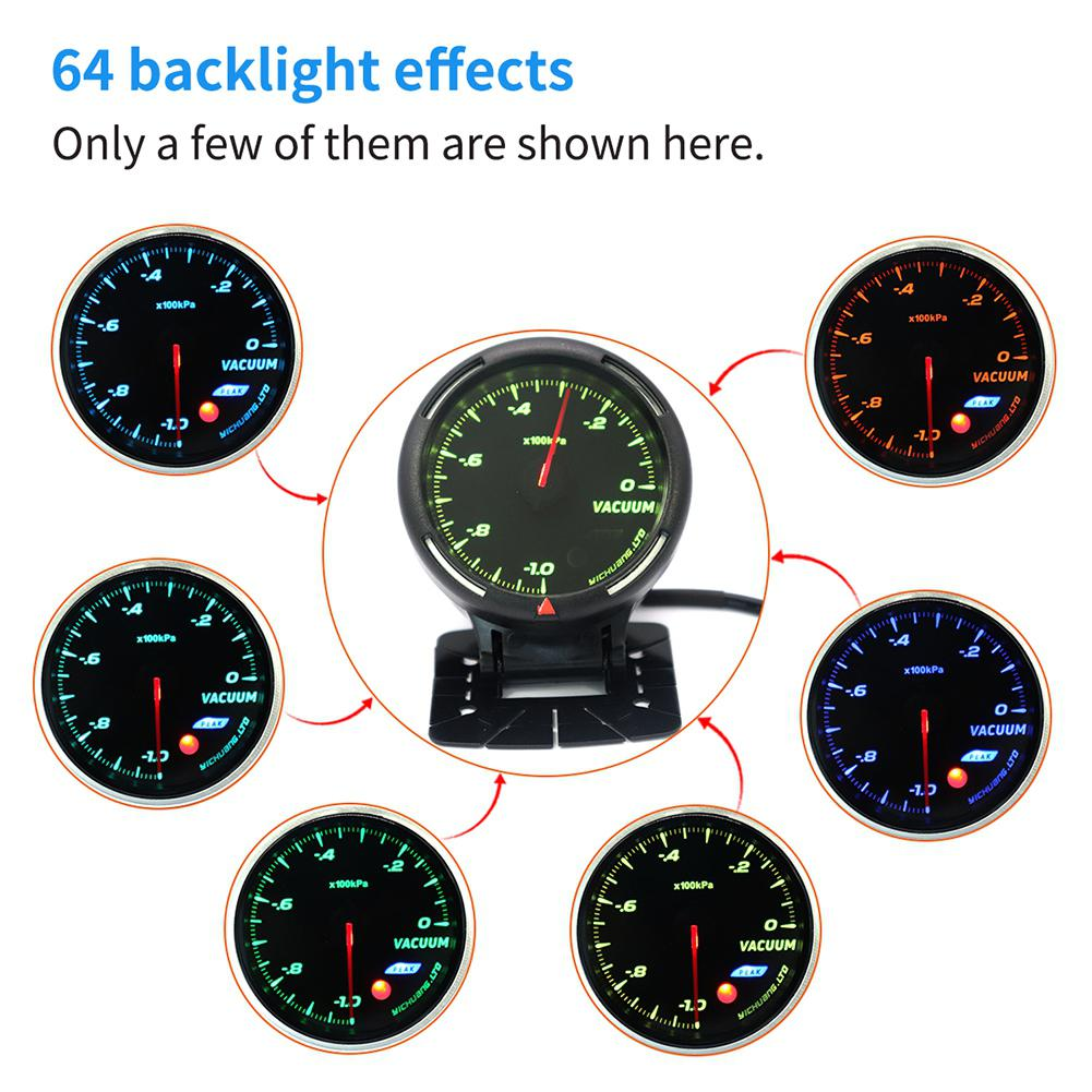 Otomobiller ve Motosikletler'ten Vakum Ölçerler'de 12V araba 64 renkli arkadan aydınlatmalı ayarlanabilir 100KPa vakum ölçer çift taraflı yapışkan yüksek kaliteli vakum ölçer sensör r30 title=