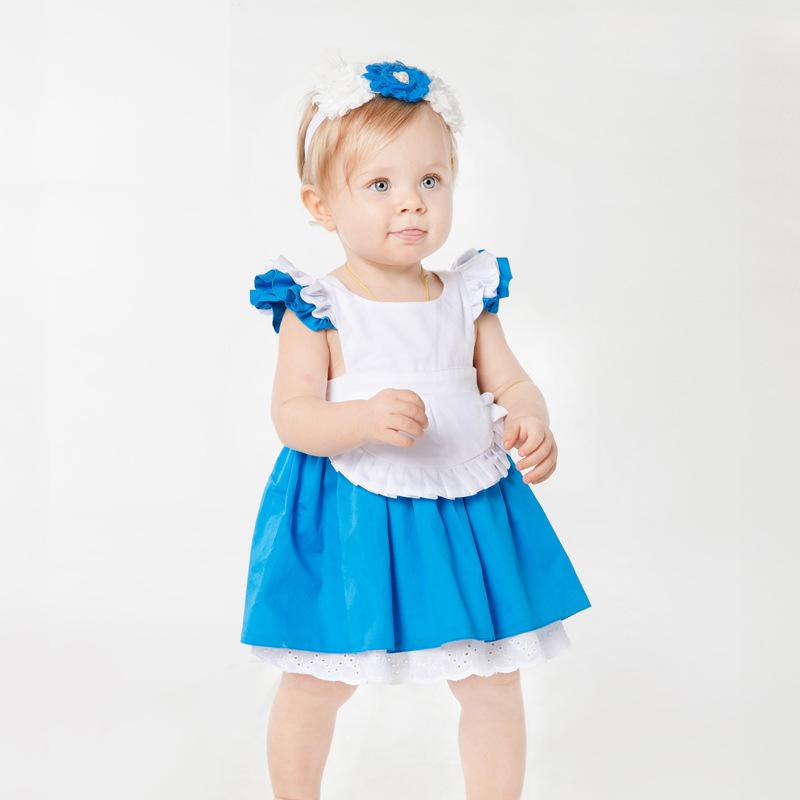 Cute Babys Ruffles Dress Summer Toddle Blue White Dresses With Lace Design Sweet Kids Princess Party Dress Tutu Clothes