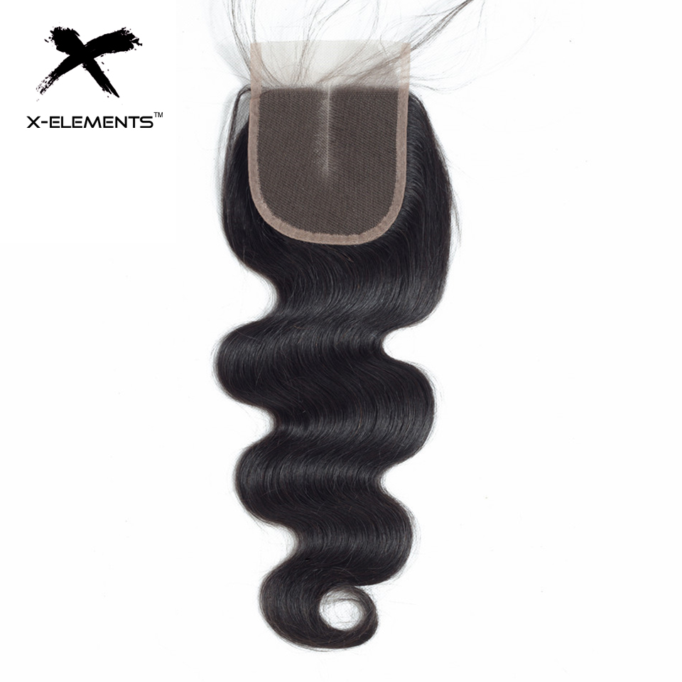 X-Elements Hair 4x4 Lace Closure Body Wave Hair Weaves Non-Remy Brazilian Human Hair Extensions Natural Color Swiss Lace Closure (3)